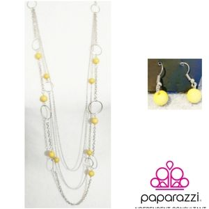 Beachside Babe Yellow Necklace and Earrings